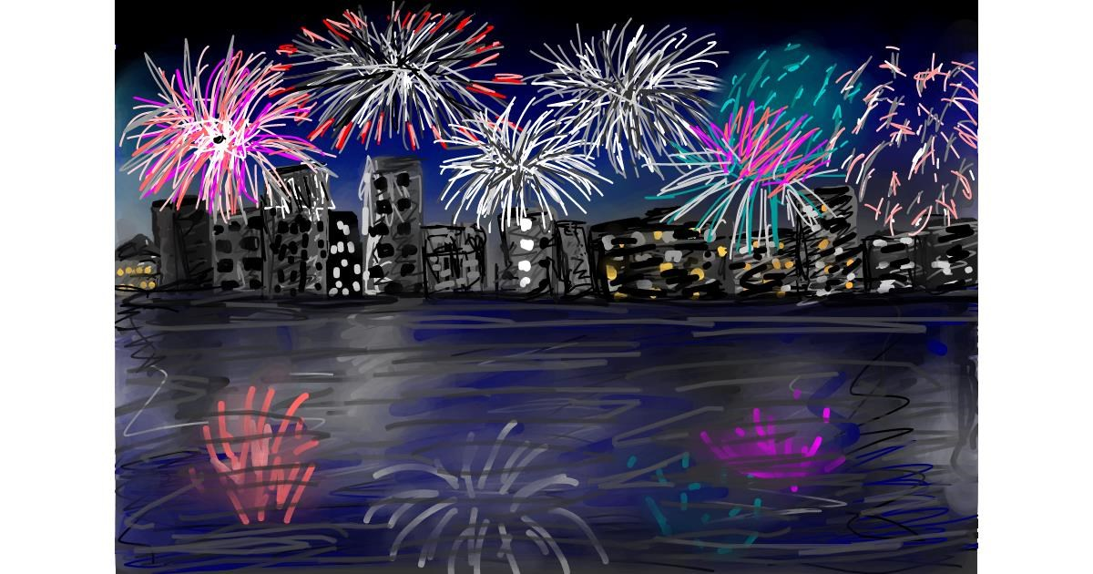 Fireworks drawing by Soaring Sunshine