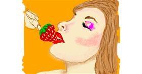 Drawing of Strawberry by Cherri