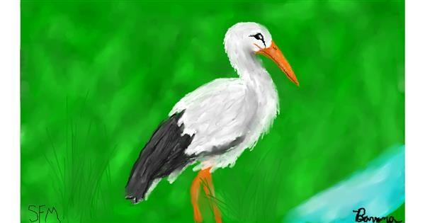 Stork drawing by Banana