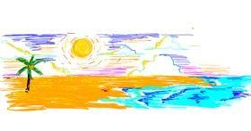 Beach drawing by kimi