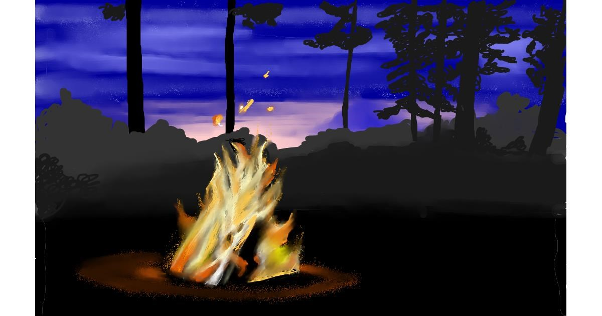 Drawing of Campfire by Tim