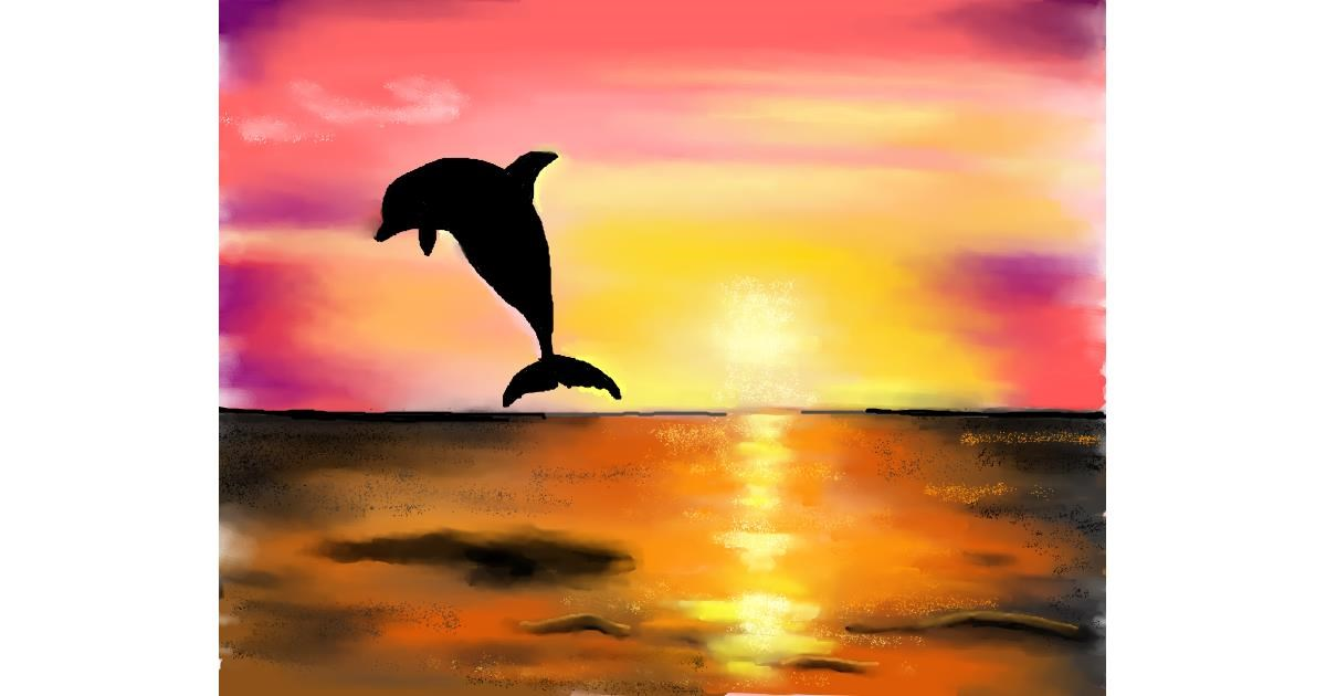 Dolphin drawing by Cec