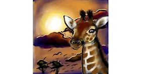 Giraffe drawing by Leah