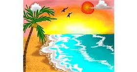 Drawing of Beach by Freny