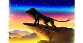 Drawing of Lion by Wizard